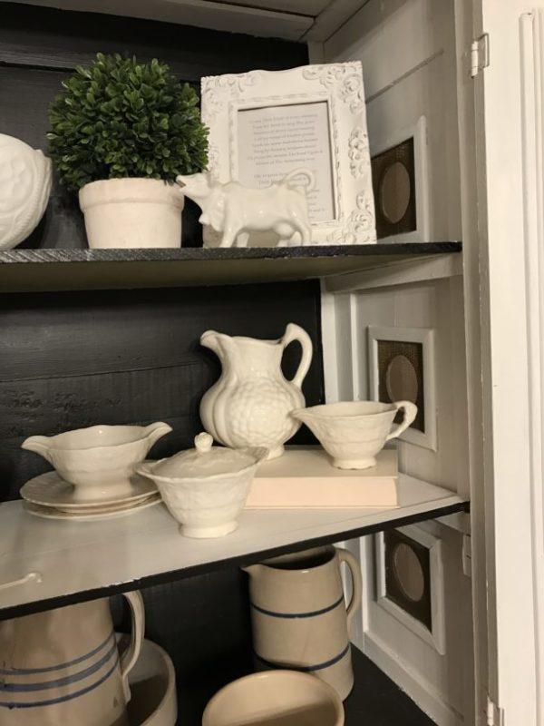 Inside vintage pie cabinet