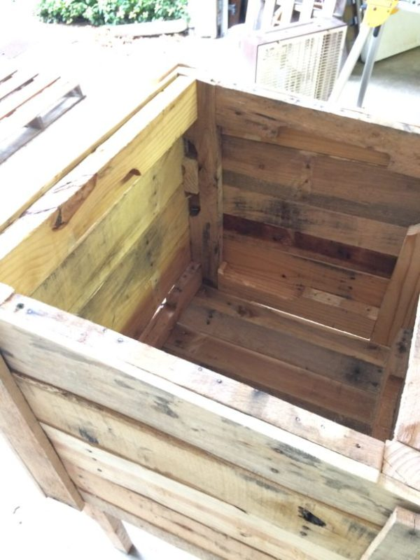 Inside of a parcel box made from pallets