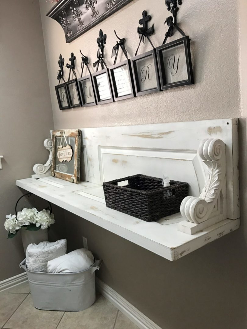 Repurposed Door into Laundry Room Shelf