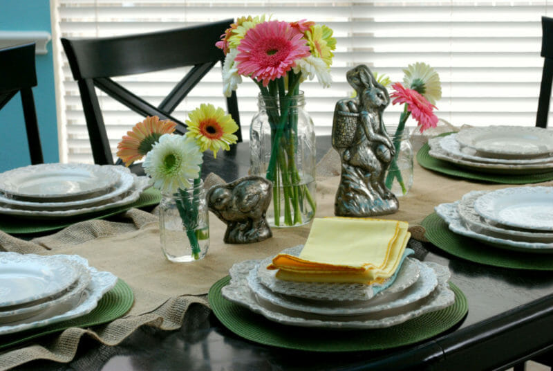 Process on how to style an Easter table