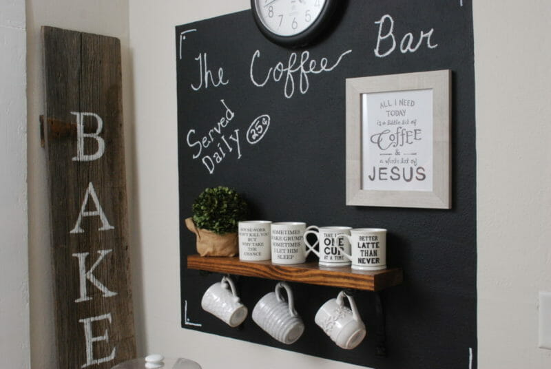 Chalkboard wall with coffee mug shelf