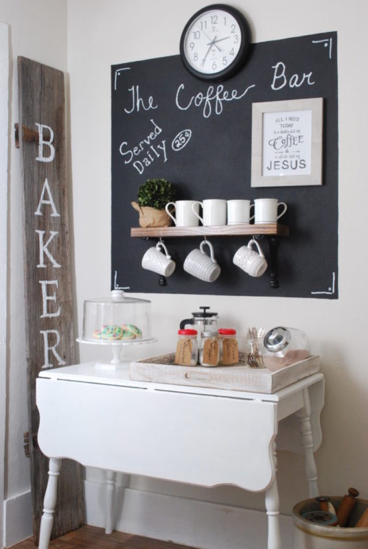 Coffee station using farmhouse table