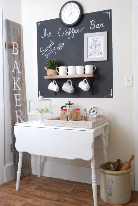 Adding a Coffee station with chalkboard wall has farmhouse charm