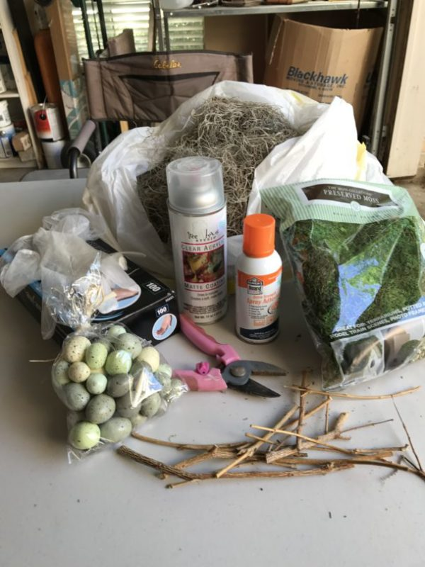 Supplies to make a nest with spanish moss