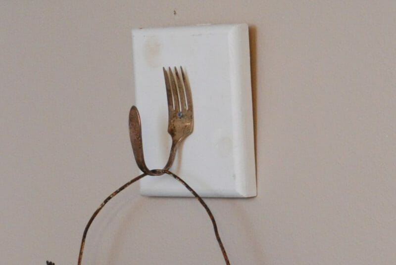Make a hook out of an antique fork