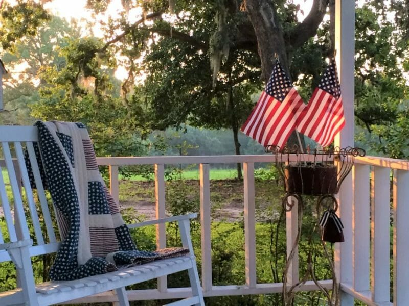 country front porch on July 4th