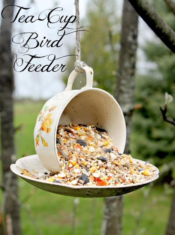 Teacup bird feeder by Bushel and a Peck