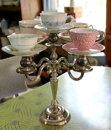 teacup candelabra made with vintage cups and saucers