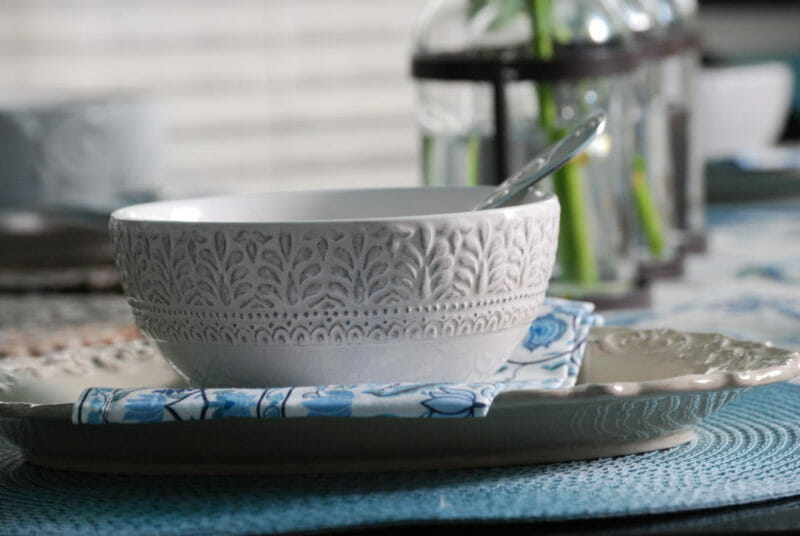 Embossed white bowls from Pier 1 for a tablescape