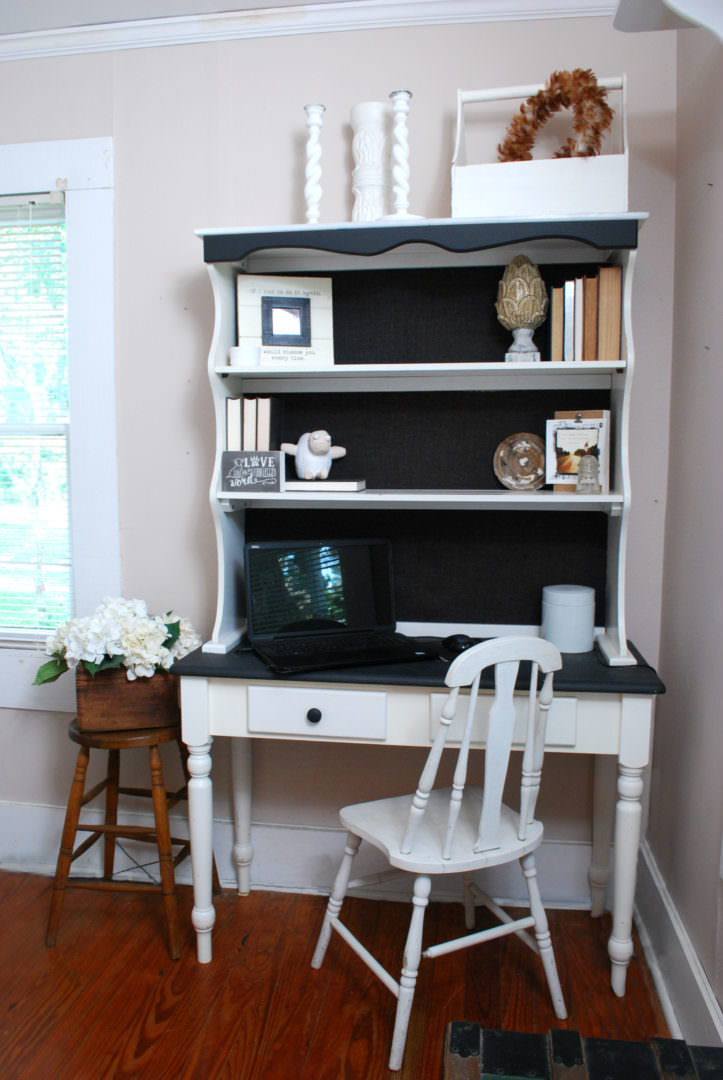 Desk made from a dining room hutch with a chalkboard top