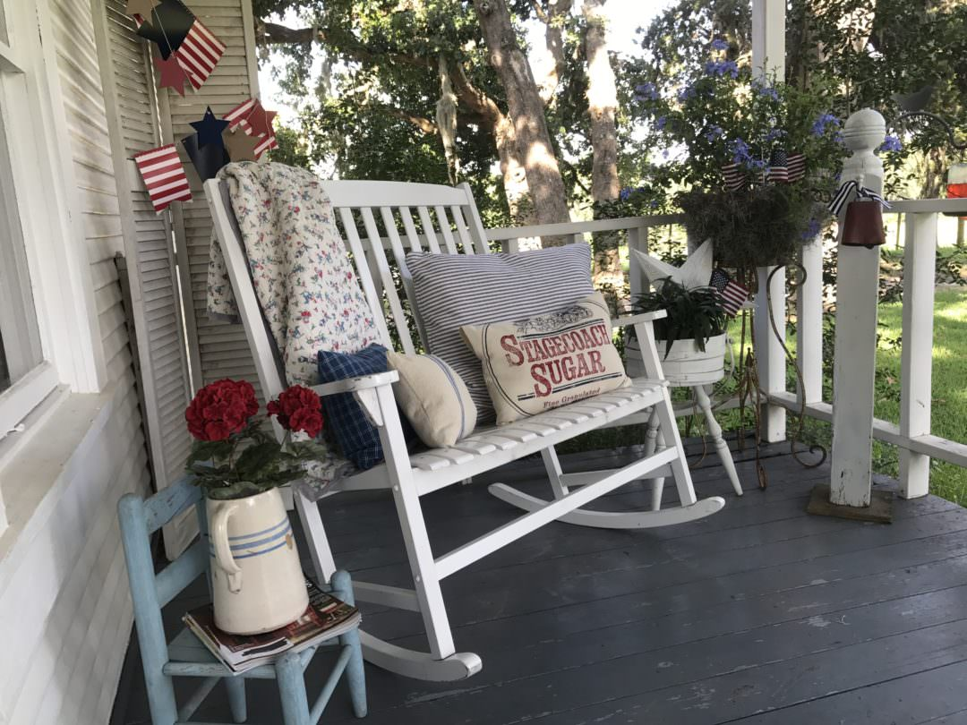 patriotic decor on a farmhouse front porch