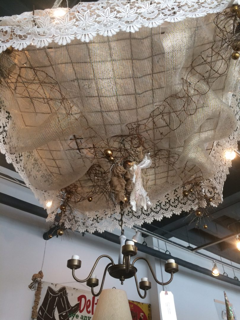 Repurposed bedspring made into bed canopy found at The Market 1023 in Bryan, Texas