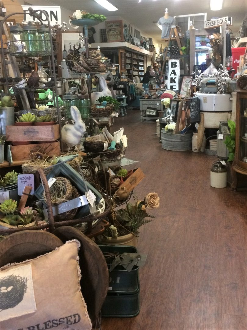 Interior view of The Bird's Nest Antique shop in Bryan, Texas