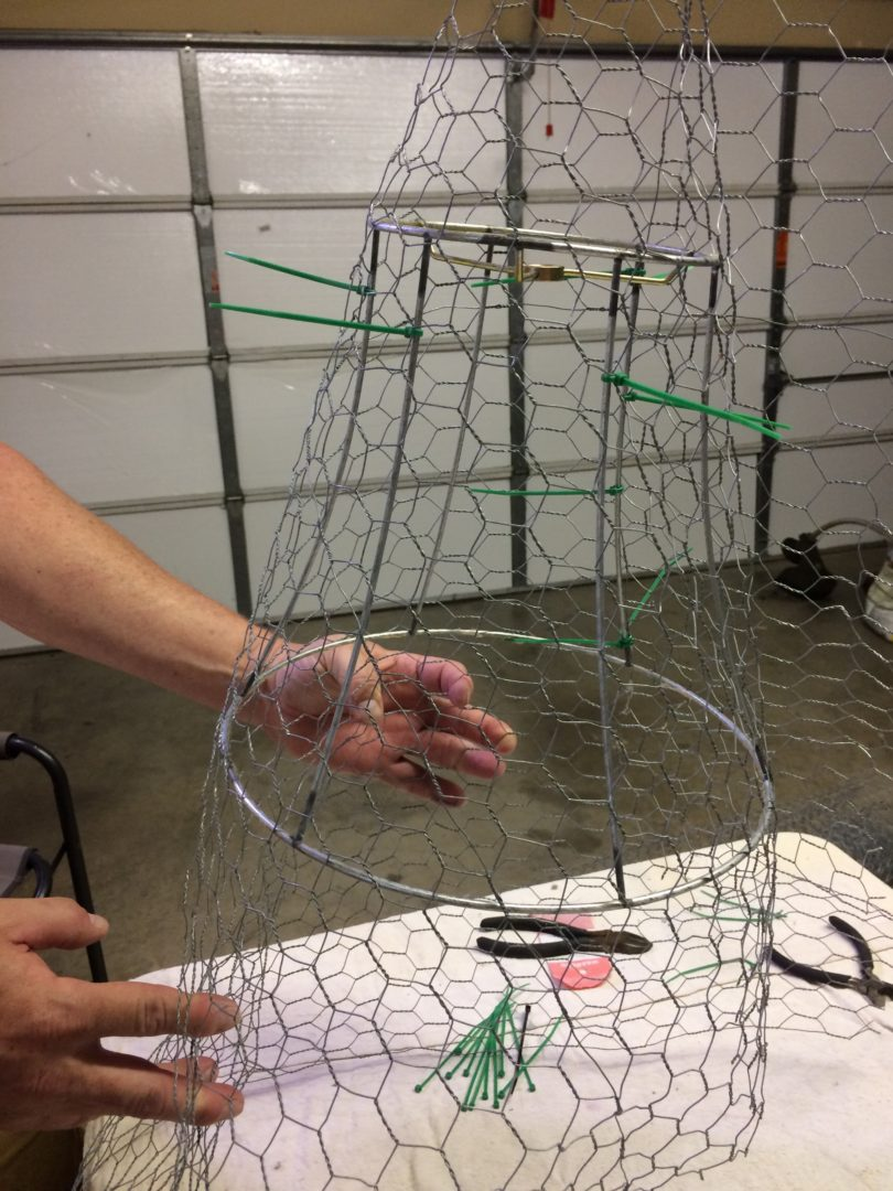 step 2 of making a chicken wire cloche