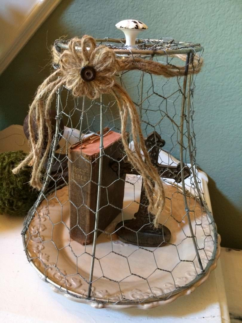 Twine is used for a rustic look in this chicken wire cloche