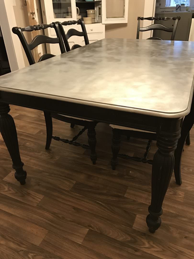 How to DIY a galvanized look to a table top