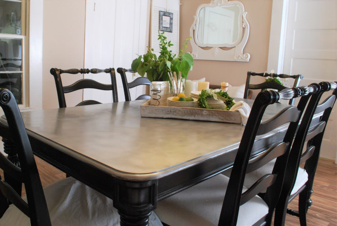 DIY Galvanized Looking Table Top and Chair Makeover!