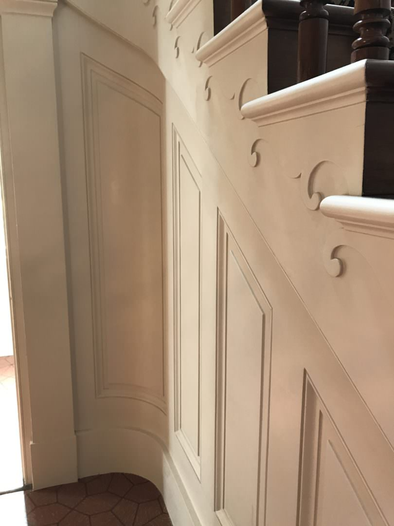 Mouldings around the staircase inside the Melrose Mansion in Natchez MI
