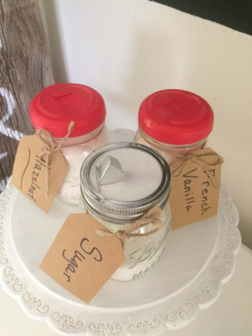 Ball jars with Coffee-mate Creamer lids