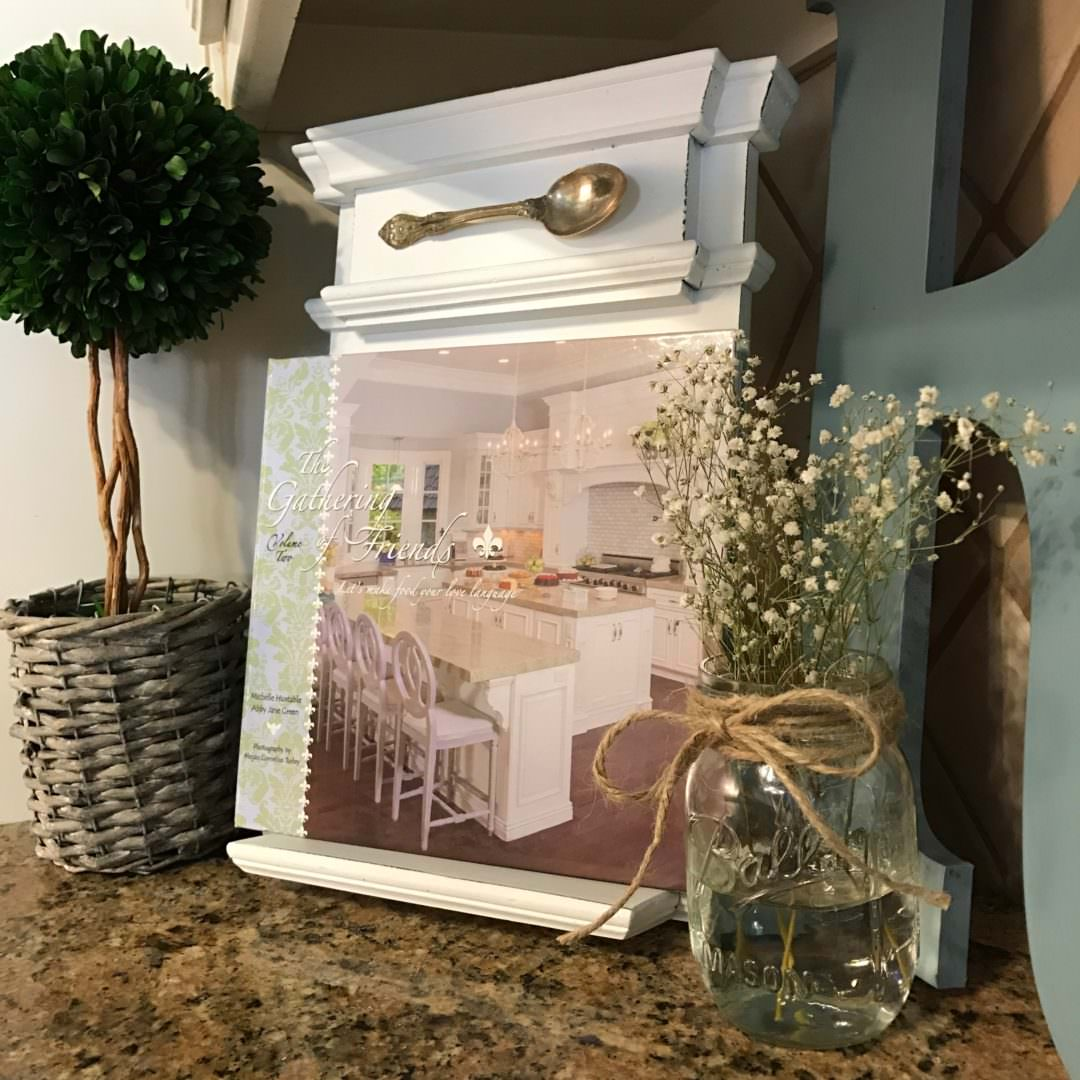 recipe book used for decor in kitchen