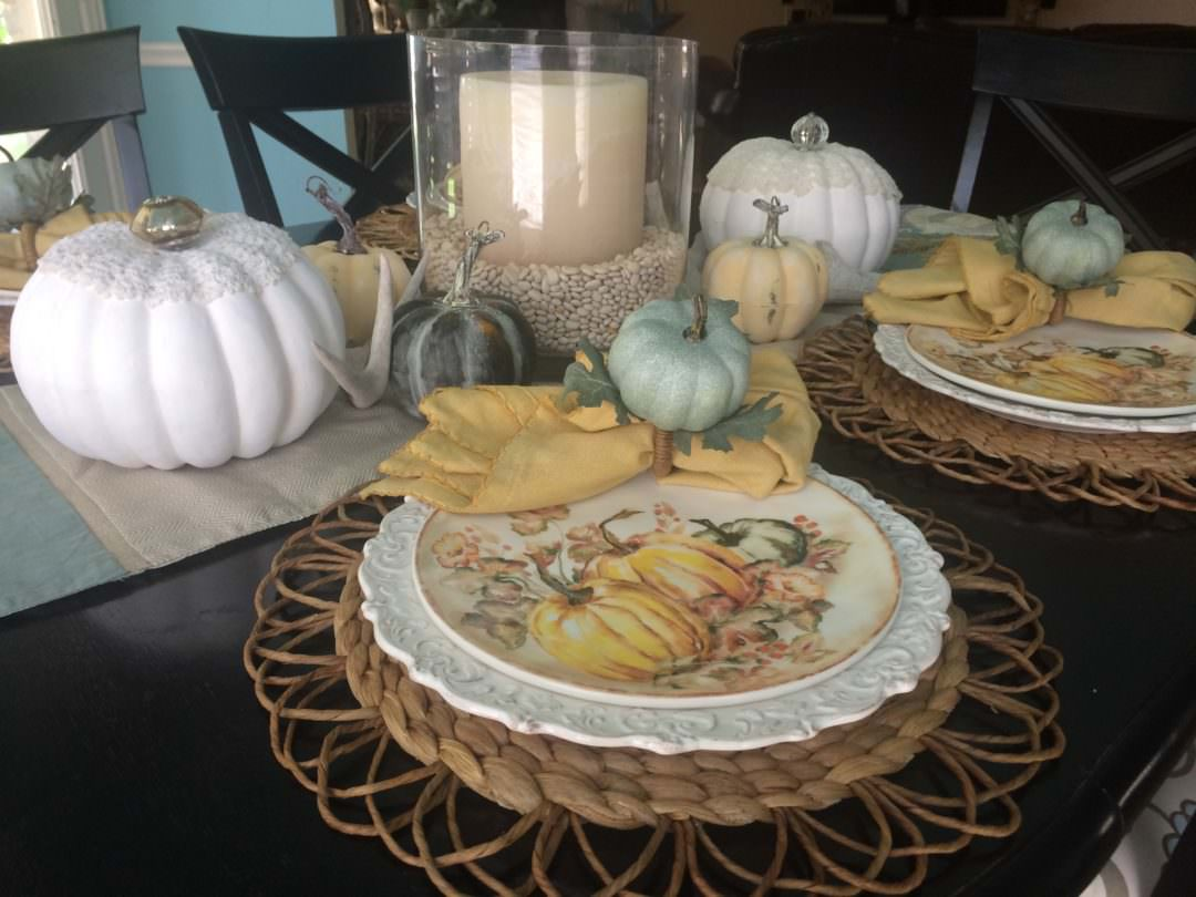 Pier 1 fall place setting for a casual fall tablescape