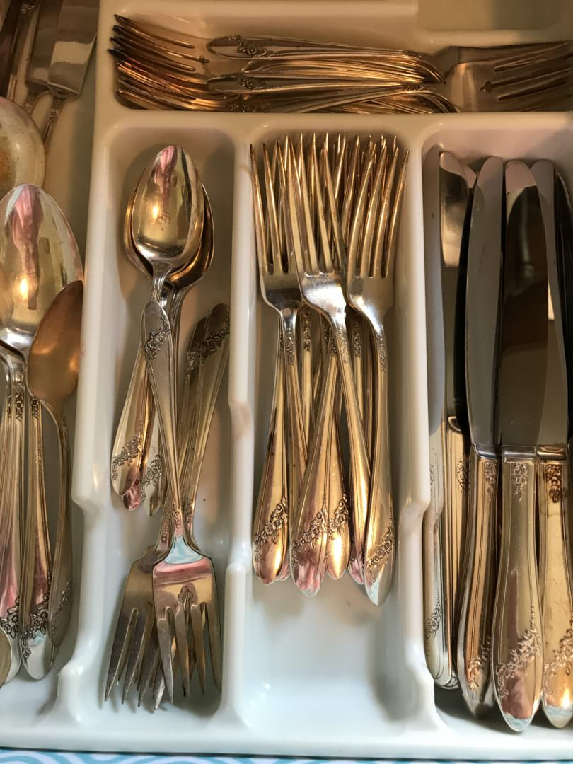 Silver plated utensils used for everyday for a farmhouse kitchen detail by CountyRoad407.com