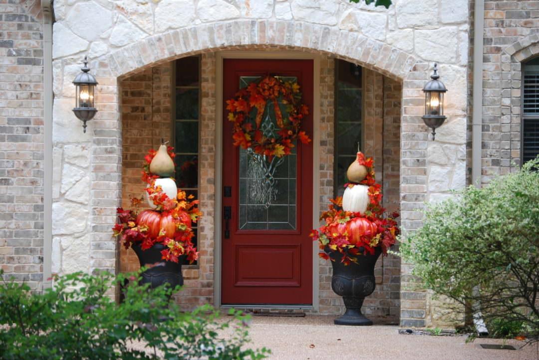 Pumpkin topiaries for outdoor urns