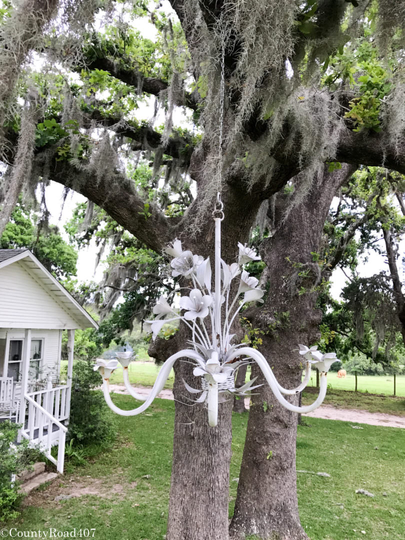 Hang a chandelier from the trees outdoors for a fun farmhouse look. Countyroad407.com