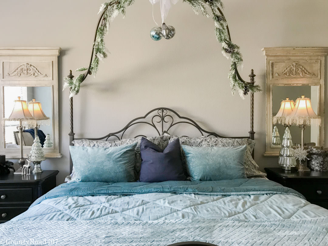 Christmas bedroom done with blues by CountyRoad407.com
