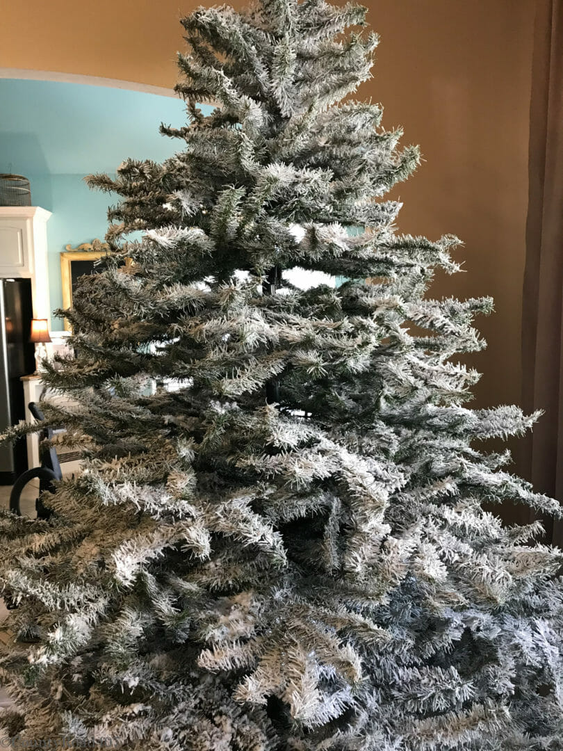 a diy flocked christmas tree