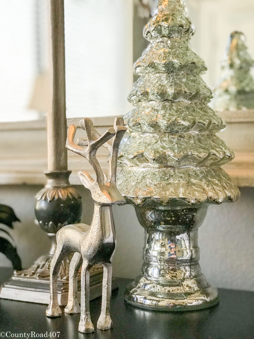 Adding mercury glass decor for Christmas never goes out of style. Countyroad407.com