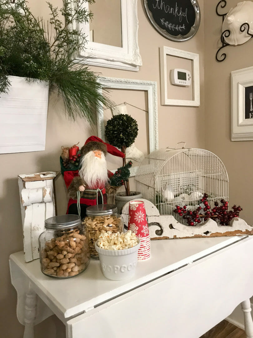 Fun Christmas Snack Table in a farmhouse tour by Countyroad407.com