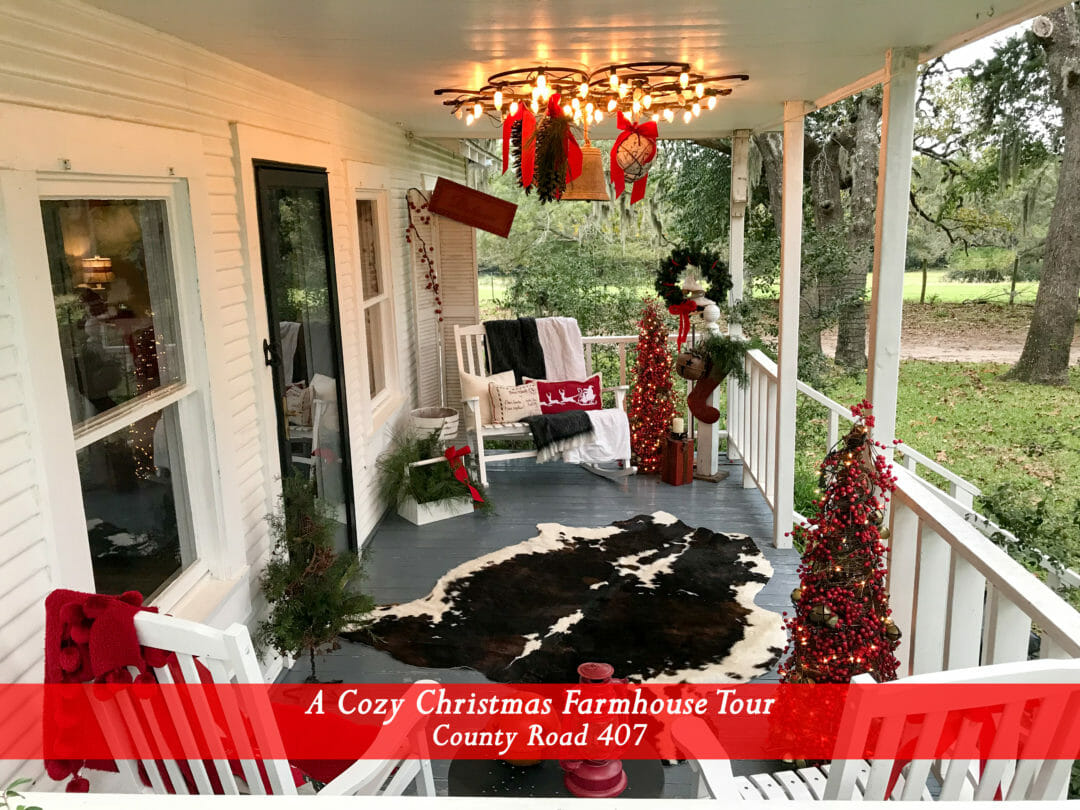 Christmas Farmhouse front porch by CountyRoad407.com