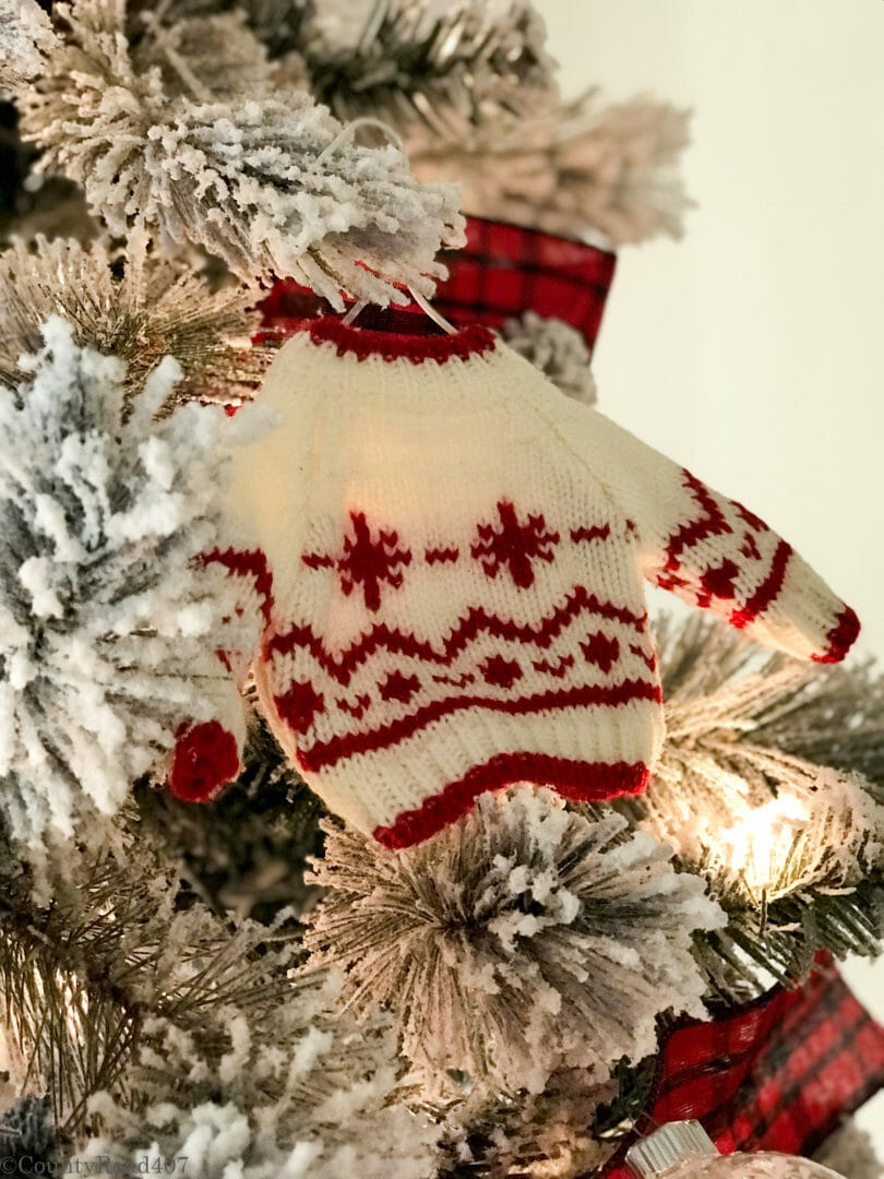 Sweater ornaments make cute woodland tree decor
