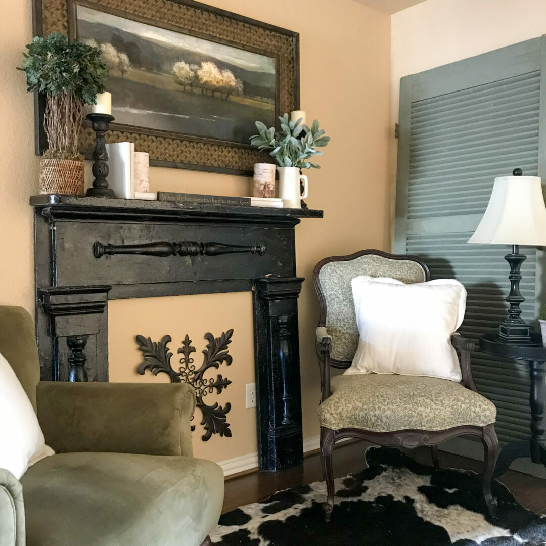 Chippy mantel added to wall for a cozy look. CountyRoad407.com