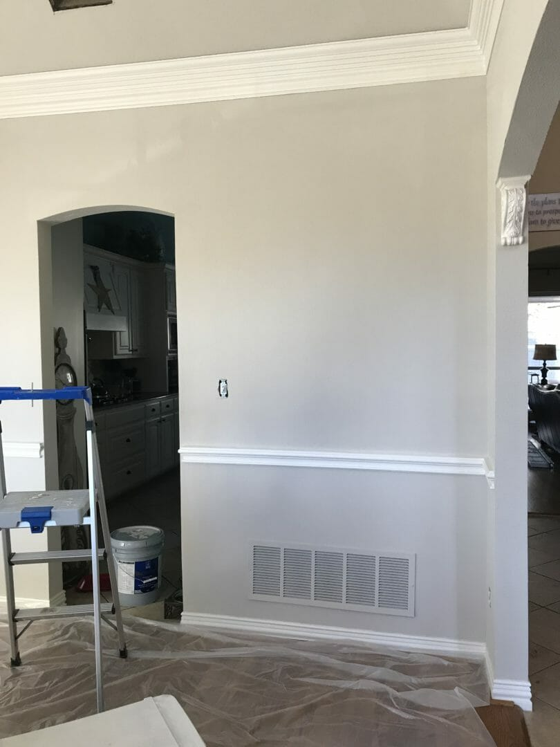 Sherwin Williams Accessible Beige paint color over gold dining room - CountyRoad407. om