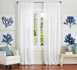 Sheer panels for a simple farmhouse look. CountyRoad407.com