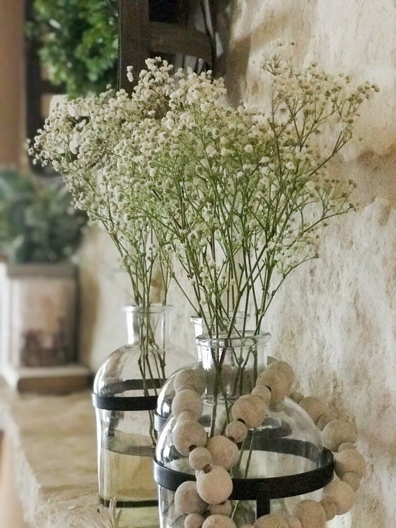 Baby's breath are perfect spring flowers for a mantel pick-me-up. CountyRoad407.com