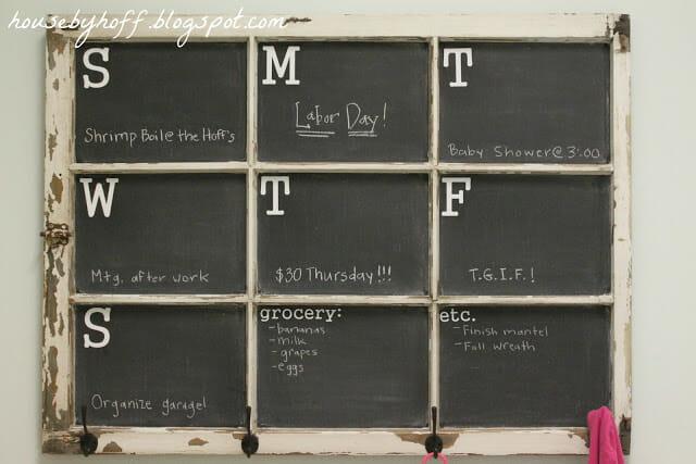 HousebyHoff.com repurposed an old window into a chalkboard calendar