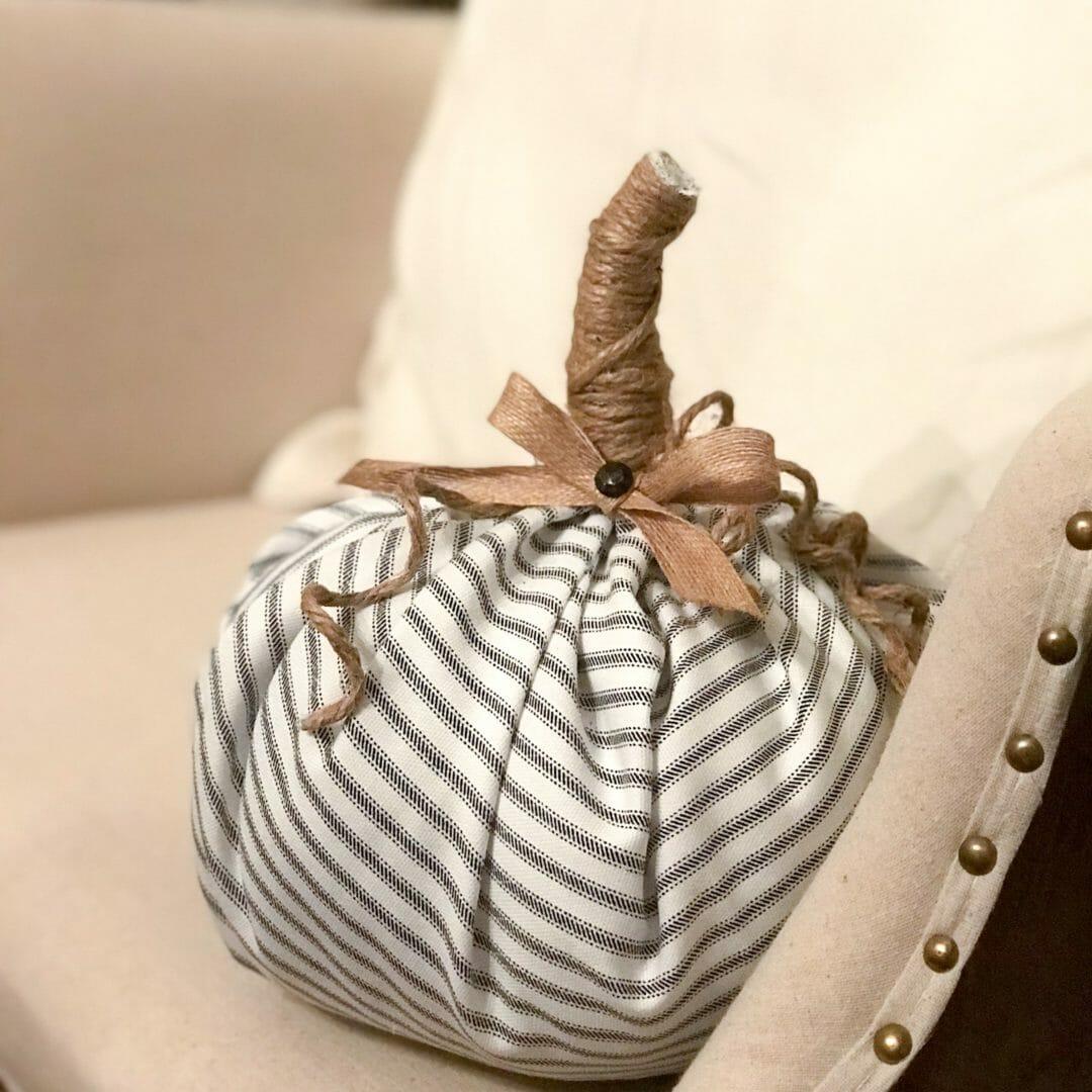 No sew fabric pumpkin in chair