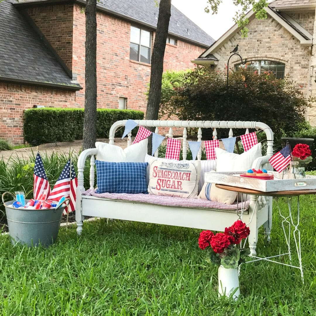 Patriotic Sitting Area with bench and pillows in front yard