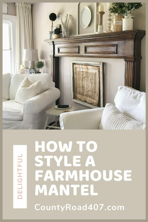 Pinterest graphic with mantelpiece, seating and farmhouse mantle